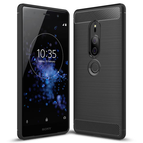 Flexi Slim Carbon Fibre Case - Sony Xperia XZ2 Premium - Brushed Black